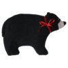 Black Bear Hand and Body Warmer with red ribbon bow profile view