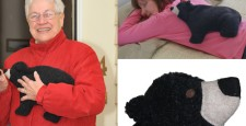 Woman using Black Bear microwave heating pad to relax sore back muscles, older woman using Black Bear as a hand warmer, and close up of Black Bear face