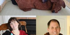 Collage of photos - Black and Brown Dachshunds on chair, woman warming up with Black Dachshund, and man using Brown Dachshund to soothe arthritic neck