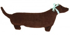 Photo of side view of Dachshund microwave neck heating pad