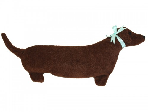 Dachshund microwave neck heating pad relieves stiff muscles -- brown berber fleece