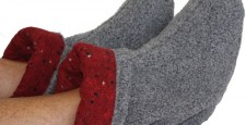 Microwave feet warmers in gray Berber Fleece with Red Cinder printed flannel