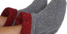 Microwave feet warmers in gray Berber Fleece with Red Cinder printed flannel