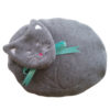Gray Cat microwaveable bed warmer with an embroidered face and turquoise ribbon