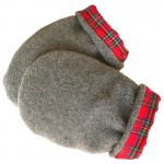 Gray with Scotch Red Plaid Hand Warmer Mittens