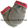 Microwave Hand Warmer mittens in gray berber fleece with scotch red plaid flannel lining, corn filled, no fragrances