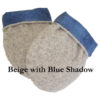 Reusable microwave hand warmers in beige berber fleece with soft blue shadow flannel lining and corn filling