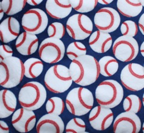 Back Warmer with white & red baseballs on a blue background