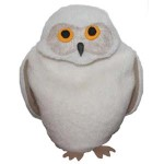 Snowy Owl microwave heating pad in white fleece with orange and black eyes on white background