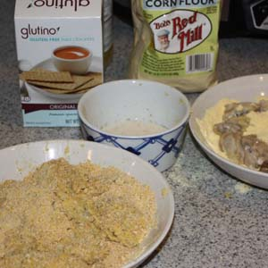 flour and crackers for frying oysters
