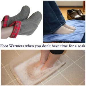 Photo collage of a woman soaking her feet, Maine Warmer's Foot Warmer booties on feet, & Foot Warmer pad with feet on them