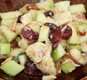 Sesame Chicken Salad with Granny Smith apples, dried cranberries, & sesame seeds