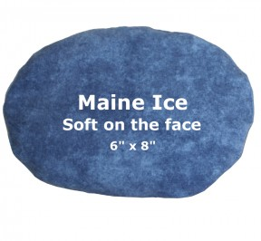 "Medium blue ice pack, words say -- Maine Ice is Soft on the face, 6"" x 8"""