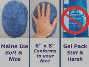 """Three photos, Maine Ice soft & nice, medium blue ice pack 6"""" x 8"""" Conforms to your face, gel pack are stiff & hars"""
