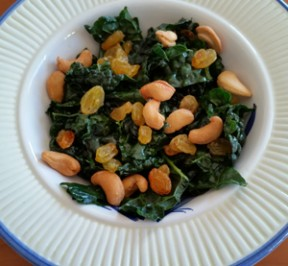 Kale Salad with golden raisins and cahsews