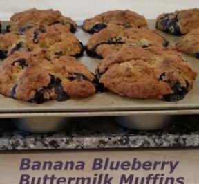 Banana Blueberry Buttermilk Muffins