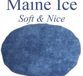 "Oval ice pack in blue flannel is filled with whole corn and is called ""Maine Ice - Soft & Nice."""