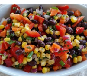 Photo of Corn and Black Bean Salad in a white ceramic bowl