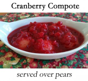 Cranberry Compote in a serving dish over pears