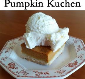 Pumpkin Kuchen Gluten free dessert on a plate with vanilla frozen yogurt on top
