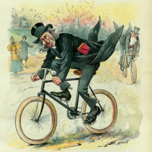 Samuel Ehrhart illustration of ministers racing on bicycles