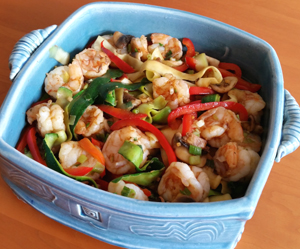 Shrimp and Zucchini Noodle Stir-fry in a casserole dish