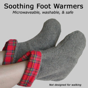 Soothing Foot Warmers are microwaveable, washable, and safe. Gray berber fleece with Scotch red plaid lining.